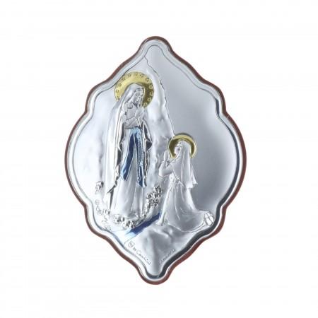 Cadre religieux original Apparition de Lourdes argentée coloré 7 x 10 cm