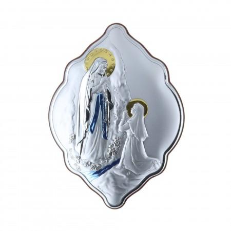 Cadre religieux original Apparition de Lourdes argentée coloré 14 x 21 cm