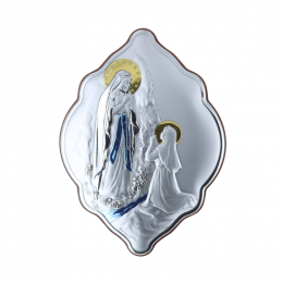 Lourdes Apparition original colour silvery religious frame 14 x 21 cm