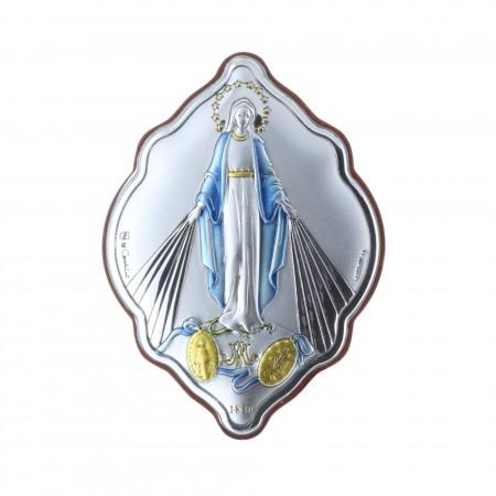 Cadre religieux Vierge Miraculeuse argentée 7 x 10 cm