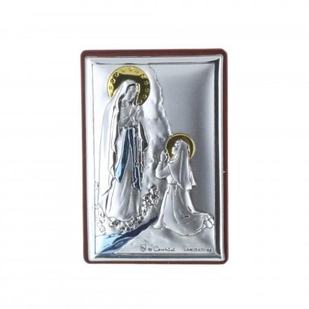 Quadretto religioso Apparizione di Lourdes argentato colorato 4 x 6 cm
