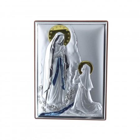 Cadre religieux Apparition de Lourdes argentée 8 x 11 cm