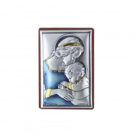 Quadretto religioso Madonna col Bambino Gesù argentato colorato 4 x 6 cm