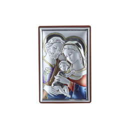 The Holy Family colour silver religious picture frame 4 x 6 cm