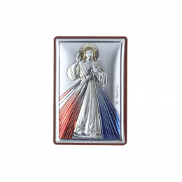 Divine Mercy silver dipped religious picture frame 4 x 6 cm