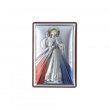 Quadretto religioso Gesù Misericordioso argentato 4 x 6 cm