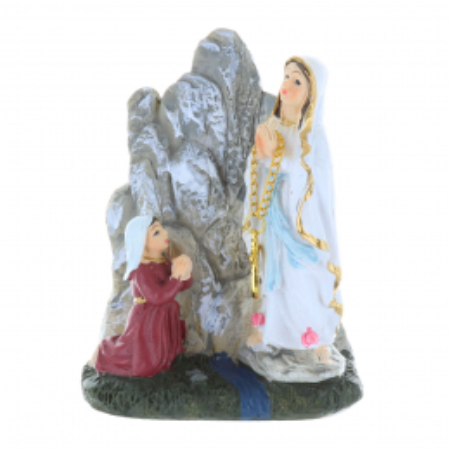 Statua Madonna e Grotta di Lourdes in resina 8,5 cm