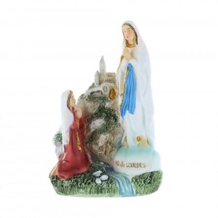 Statua Apparizione di Lourdes in resina colorata 9 cm