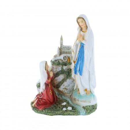 Statua Apparizione di Lourdes in resina colorata 14 cm