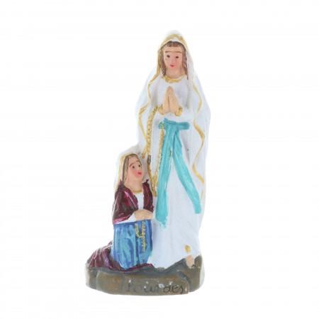 Statua Apparizione di Lourdes in resina colorata 6 cm