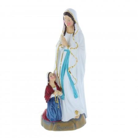 Statue Apparition de Lourdes en résine colorée 18 cm