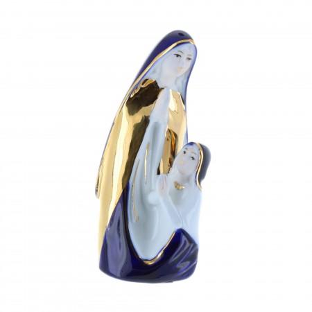 Statue Apparition de Lourdes en porcelaine dorée 12 cm