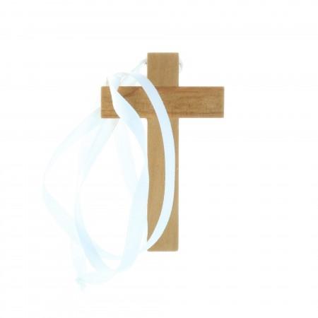 Croix d'aube bois avec cordon 9,5 cm