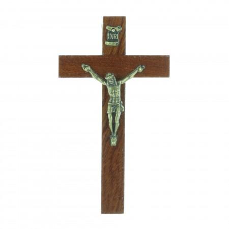 Crucifix bois foncé et Christ argenté 10,5 cm