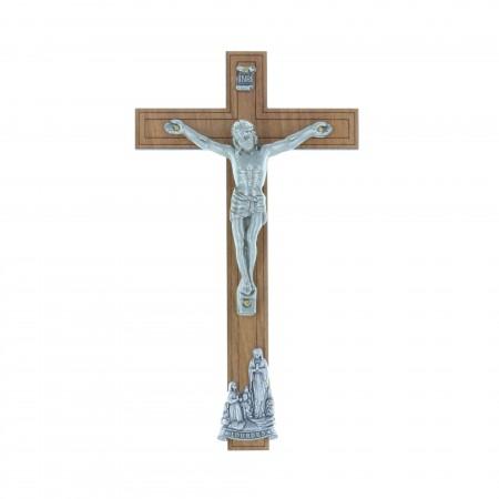 Crucifix bois Christ et Apparition de Lourdes argentés 16,5 cm