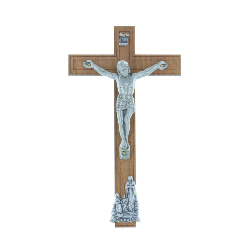 Wooden crucifix silvery Christ and Lourdes Apparition 16.5 cm