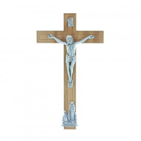Crucifix bois Christ et Apparition de Lourdes argentés 21 cm