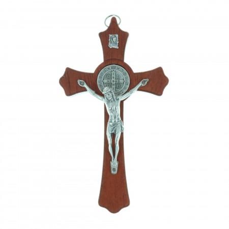 Crocifisso legno Cristo e medaglia San Benedetto argentata 15 cm