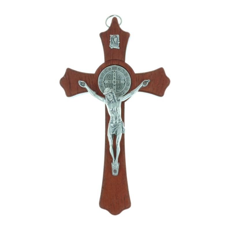 Wooden crucifix Christ and Saint Benoît silvery medallion 15 cm