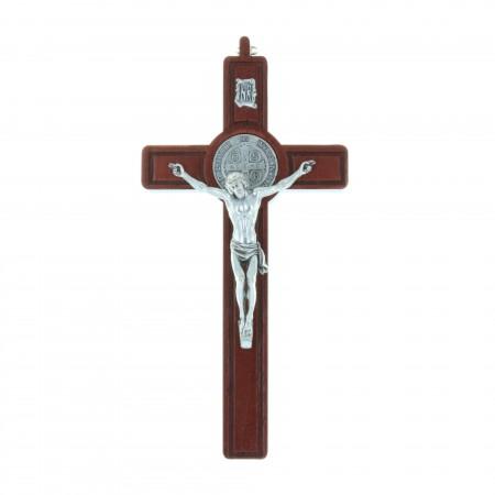 Crucifix Saint Benoît en bois d'olivier Christ et médaille argentée 20 cm