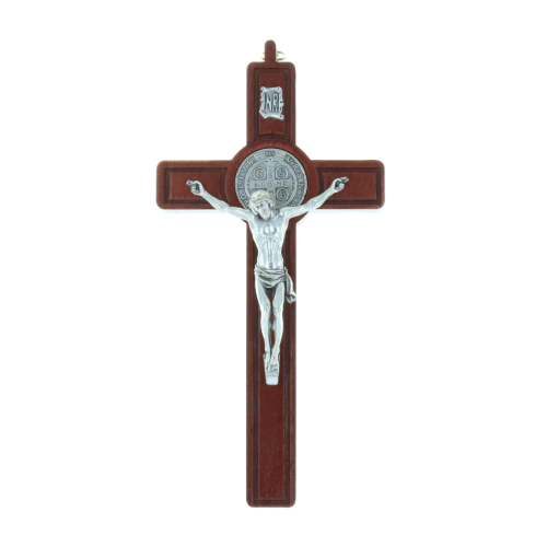 Olive wooden crucifix Christ and silvery Saint Benedict medallion 20 cm