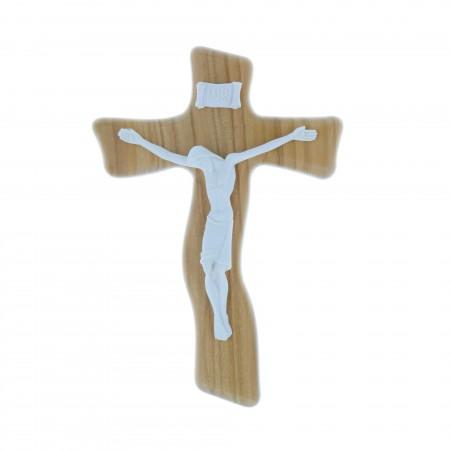 Crucifix bois d'olivier et Christ blanc en résine 17 cm