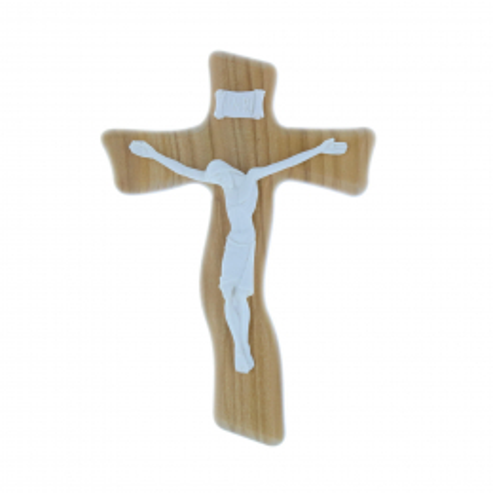 Crocifisso legno di ulivo e Cristo bianco in resina 17 cm