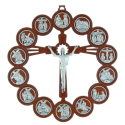 Wooden crucifix and silvery Way of the Cross 21.5 cm