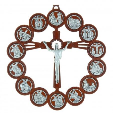 Crucifix bois Christ et chemin de croix argenté 21,5 cm