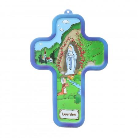 Croce religiosa colorata dell'Apparizione di Lourdes 13,5 cm