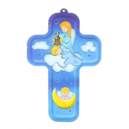 Croix religieuse colorée d'Ange gardien 13,5 cm