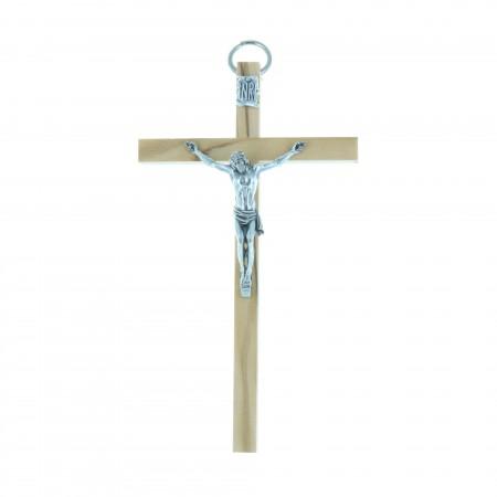 Crucifix bois clair d'olivier et Christ argenté 10,5 cm