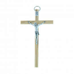 Light olive wooden crucifix and silvery Christ 10.5 cm