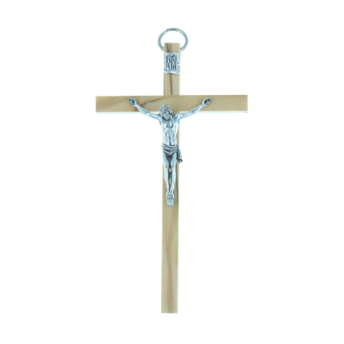 Olive wood crucifix and silvery Christ 10.5 cm