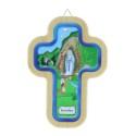 Lourdes Apparition religious wood colour cross 14.5 cm