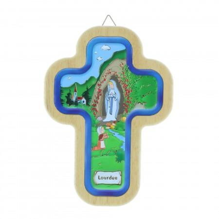 Croix religieuse colorée en bois de l'Apparition de Lourdes 14,5 cm