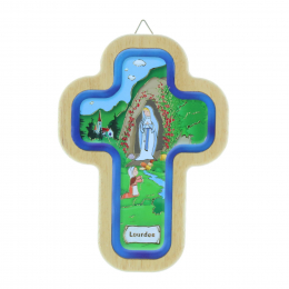 Lourdes Apparition religious wood colour cross 14.5 cm