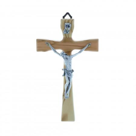Crucifix bois et Christ argenté 17 cm