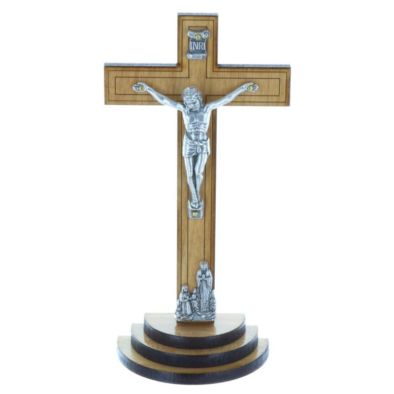Dark wood crucifix on a wood base and silvery Christ 13.5 cm