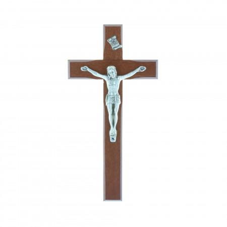 Crucifix bois et Christ argenté 16 cm