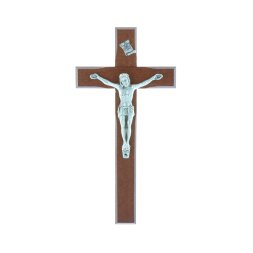 Wooden crucifix and silvery christ16 cm