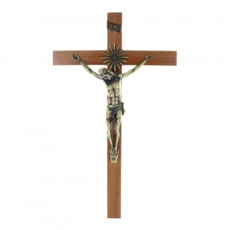 Crucifix bois Christ couleur bronze et auréole de soleil 43 cm