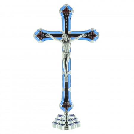 Crucifix métal coloré et argenté et Christ en métal 20 cm