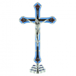 Colour and silver metal crucifix and metal Christ 20 cm