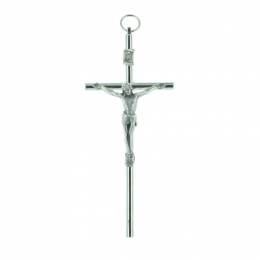 Metal crucifix and silvery Christ 10 cm