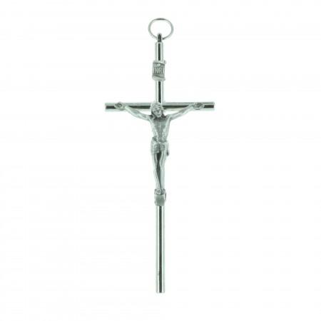 Crocifisso metallo e Cristo argentato 10 cm