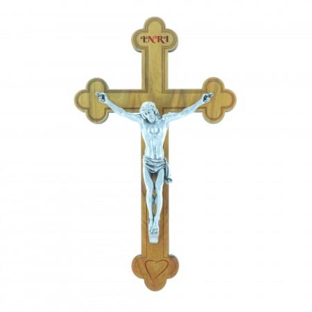 Crucifix bois trilobé et Christ argenté 16 cm