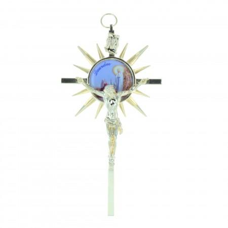 Crucifix métal doré et Apparition de Lourdes 11,5 cm