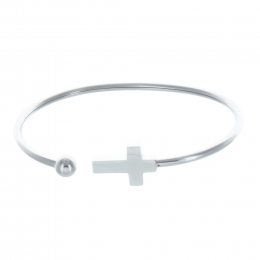 Fancy bracelet open silvery bead with a cross