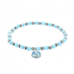 Fancy bracelet blue and silvery pearls and Our Lady